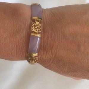 """14 KT Gold Lavender Jade Link Bracelet 7"""""""